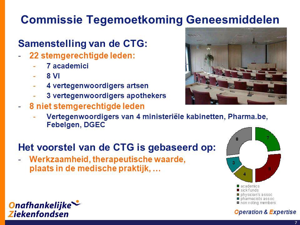 7 Operation & Expertise Commissie Tegemoetkoming Geneesmiddelen Samenstelling van de CTG: -22 stemgerechtigde leden: -7 academici -8 VI -4 vertegenwoo