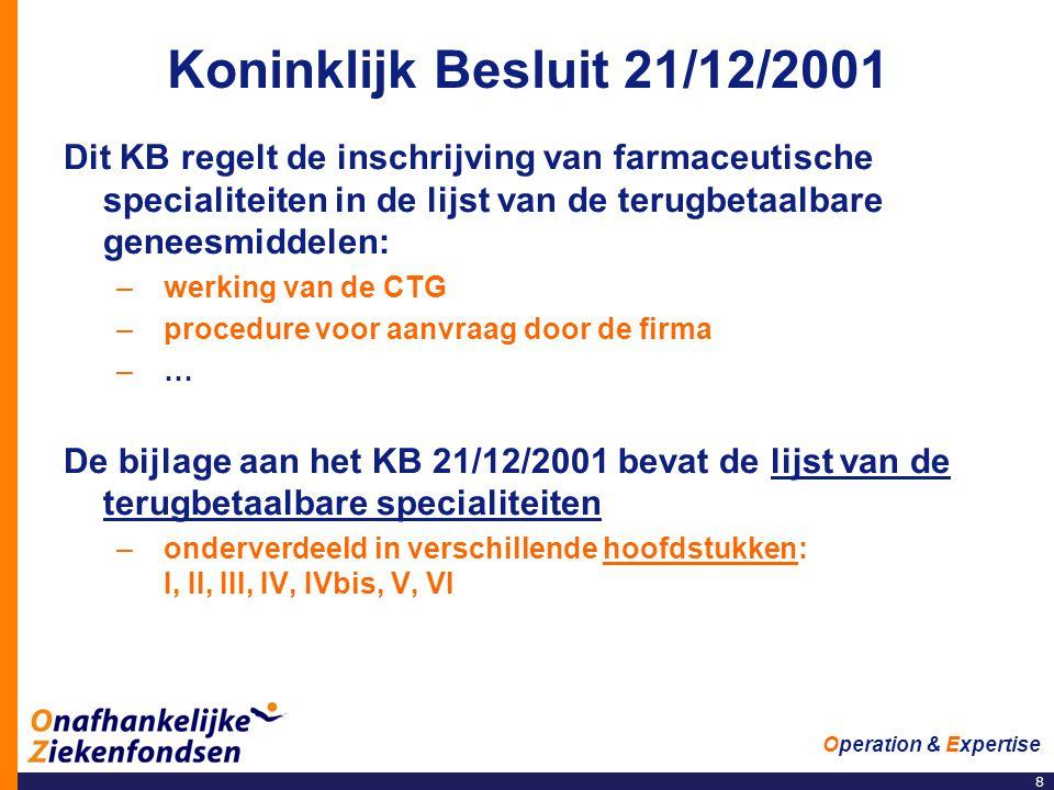 8 Operation & Expertise Koninklijk Besluit 21/12/2001 Dit KB regelt de inschrijving van farmaceutische specialiteiten in de lijst van de terugbetaalbare geneesmiddelen: –werking van de CTG –procedure voor aanvraag door de firma –… De bijlage aan het KB 21/12/2001 bevat de lijst van de terugbetaalbare specialiteiten –onderverdeeld in verschillende hoofdstukken: I, II, III, IV, IVbis, V, VI
