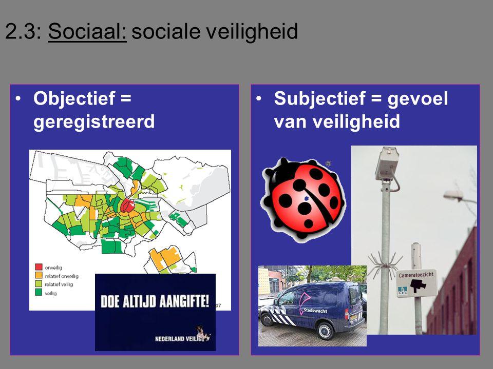 2.3: Sociaal: sociale veiligheid •Objectief = geregistreerd •Subjectief = gevoel van veiligheid