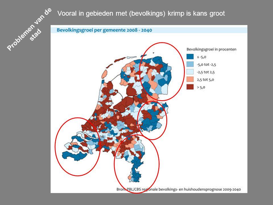 Problemen van de stad Vooral in gebieden met (bevolkings) krimp is kans groot