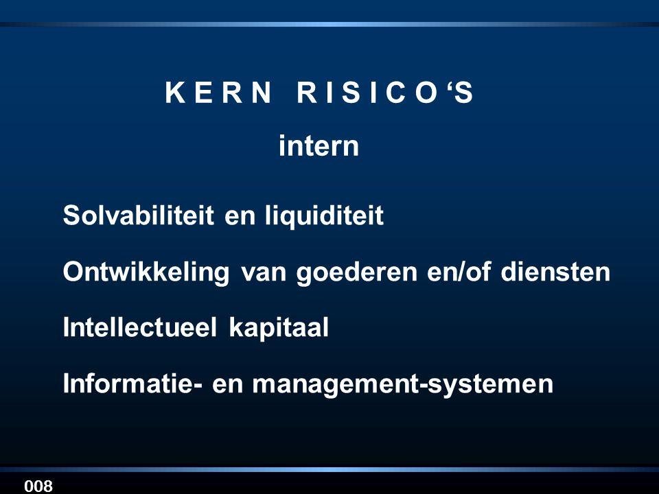 008 K E R N R I S I C O 'S intern Solvabiliteit en liquiditeit Ontwikkeling van goederen en/of diensten Intellectueel kapitaal Informatie- en manageme