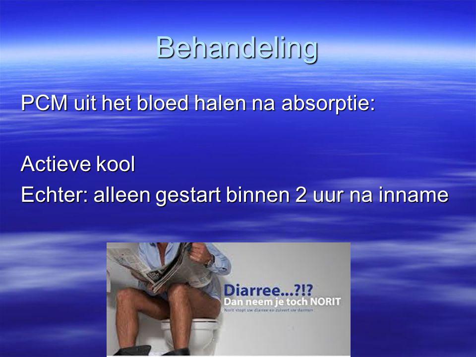 Behandeling PCM uit het bloed halen na absorptie: Actieve kool Echter: alleen gestart binnen 2 uur na inname