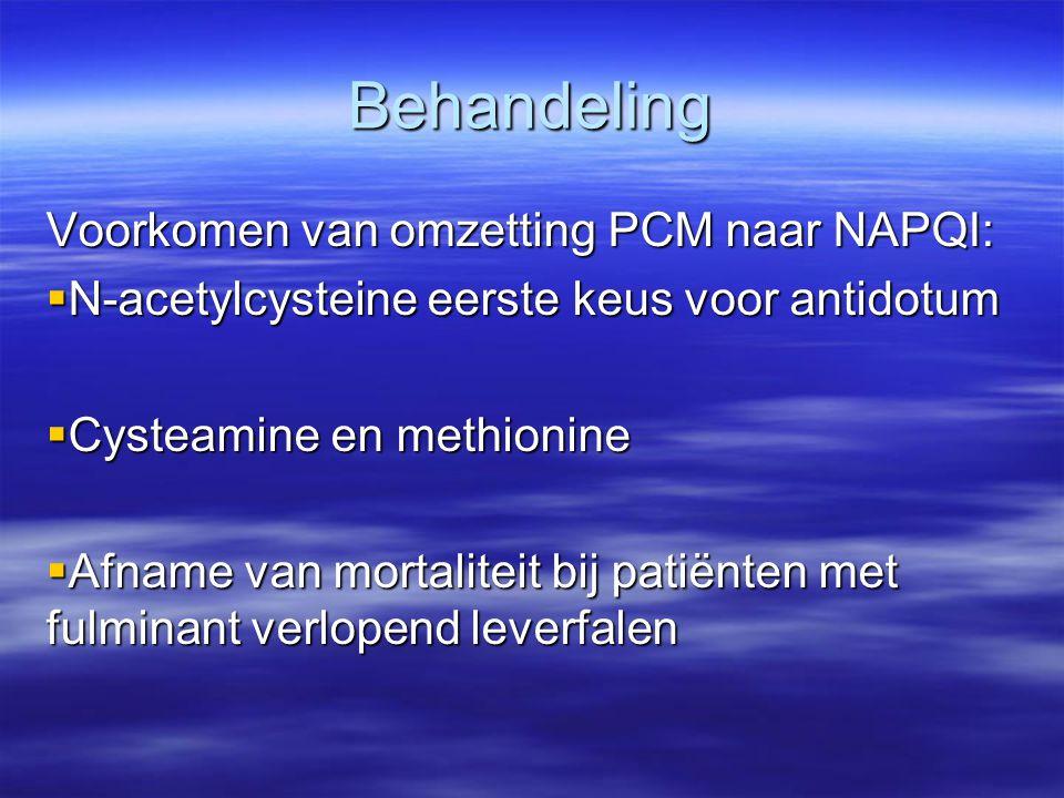 Behandeling Voorkomen van omzetting PCM naar NAPQI:  N-acetylcysteine eerste keus voor antidotum  Cysteamine en methionine  Afname van mortaliteit