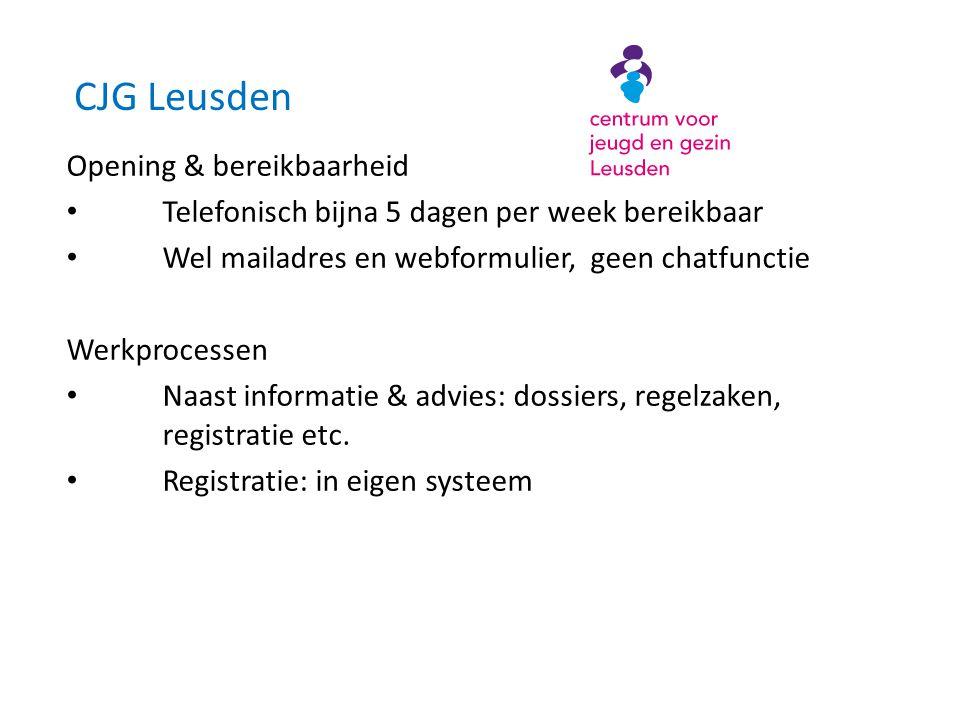 CJG Leusden Opening & bereikbaarheid • Telefonisch bijna 5 dagen per week bereikbaar • Wel mailadres en webformulier, geen chatfunctie Werkprocessen • Naast informatie & advies: dossiers, regelzaken, registratie etc.