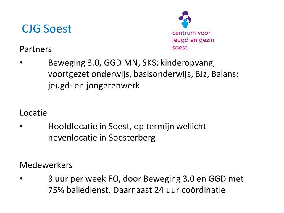 CJG Soest Partners • Beweging 3.0, GGD MN, SKS: kinderopvang, voortgezet onderwijs, basisonderwijs, BJz, Balans: jeugd- en jongerenwerk Locatie • Hoofdlocatie in Soest, op termijn wellicht nevenlocatie in Soesterberg Medewerkers • 8 uur per week FO, door Beweging 3.0 en GGD met 75% baliedienst.
