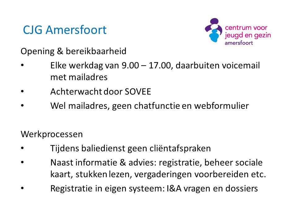CJG Baarn Partners • Beweging 3.0 en GGD MN Locatie • Hoofdlocatie in Baarn Medewerkers FO • 8 uur (0,22 fte) met 25% baliedienst, door GGD en Beweging 3.0
