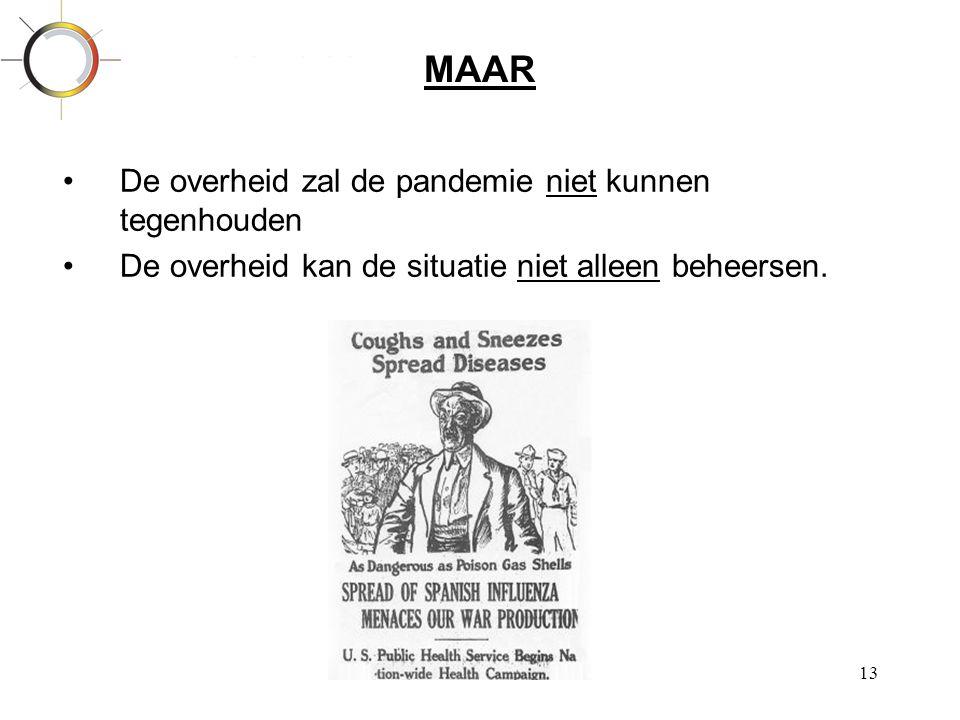 13 MAAR •De overheid zal de pandemie niet kunnen tegenhouden •De overheid kan de situatie niet alleen beheersen.