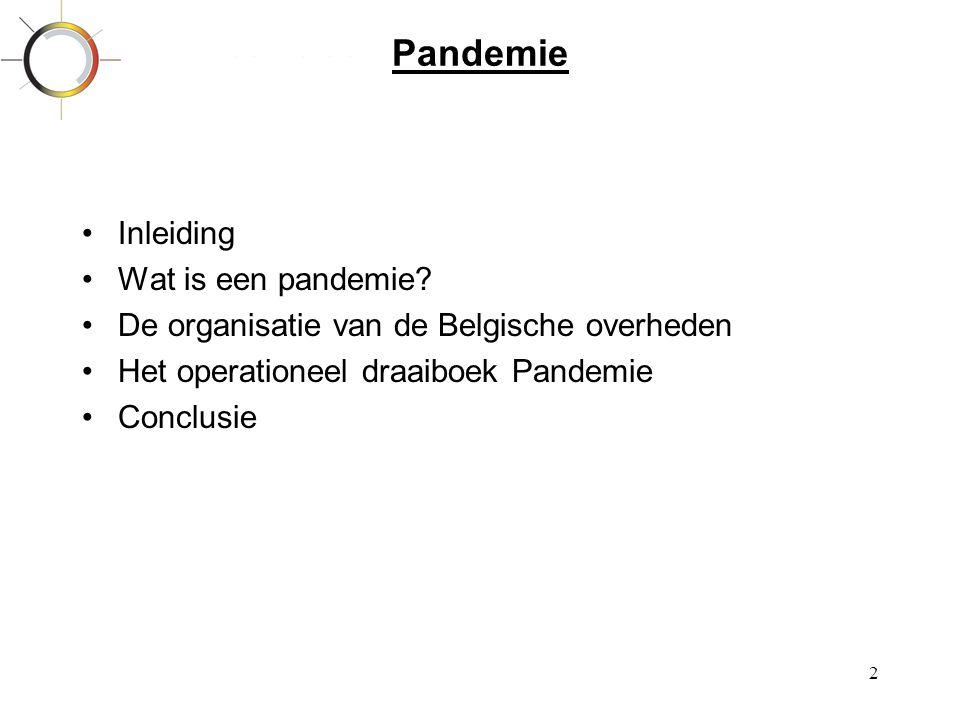 2 Pandemie •Inleiding •Wat is een pandemie? •De organisatie van de Belgische overheden •Het operationeel draaiboek Pandemie •Conclusie