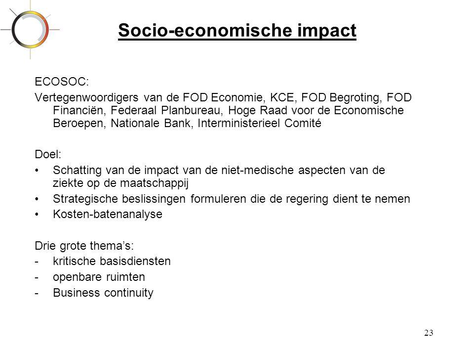 23 Socio-economische impact ECOSOC: Vertegenwoordigers van de FOD Economie, KCE, FOD Begroting, FOD Financiën, Federaal Planbureau, Hoge Raad voor de