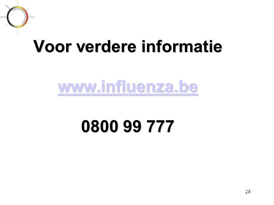 28 Voor verdere informatie www.influenza.be 0800 99 777