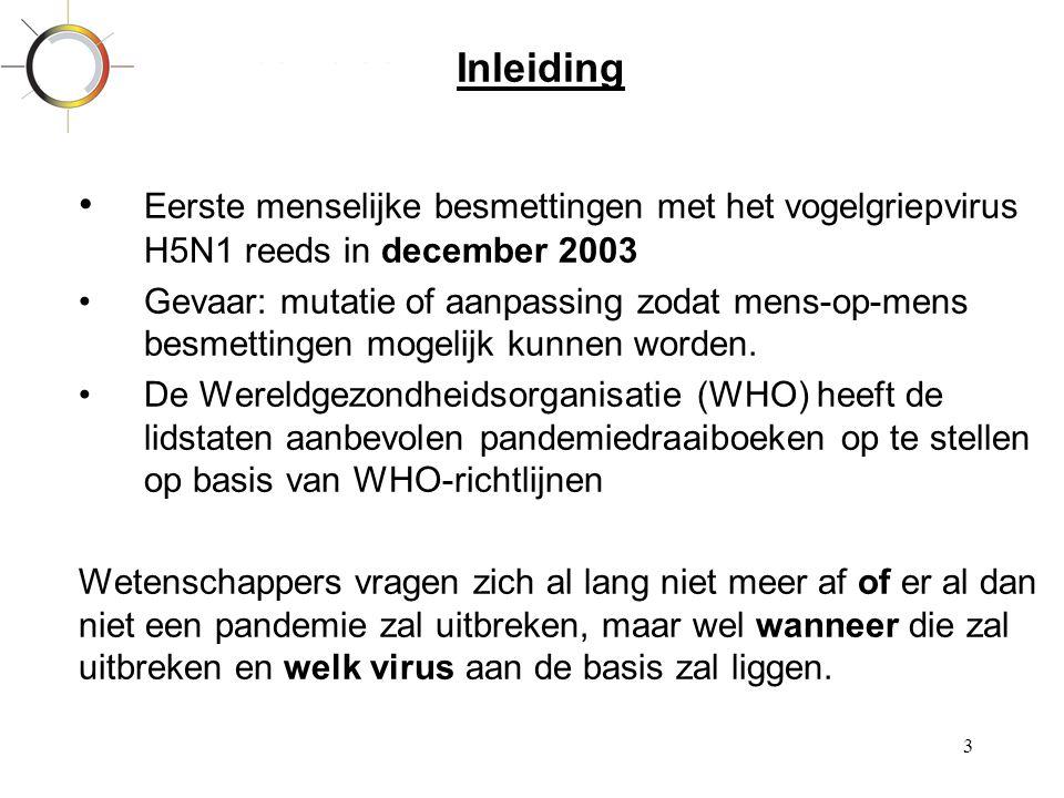 3 Inleiding • Eerste menselijke besmettingen met het vogelgriepvirus H5N1 reeds in december 2003 •Gevaar: mutatie of aanpassing zodat mens-op-mens bes
