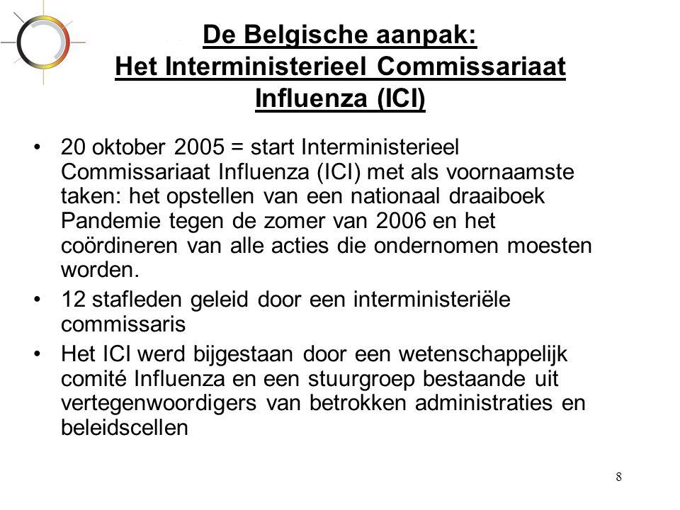 8 De Belgische aanpak: Het Interministerieel Commissariaat Influenza (ICI) •20 oktober 2005 = start Interministerieel Commissariaat Influenza (ICI) me