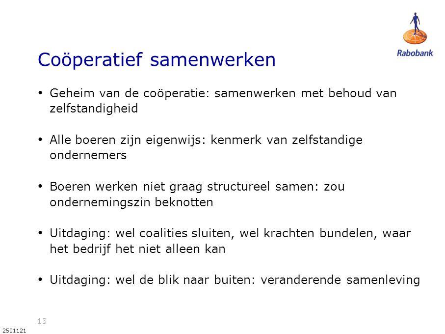 13 2501121 Coöperatief samenwerken • Geheim van de coöperatie: samenwerken met behoud van zelfstandigheid • Alle boeren zijn eigenwijs: kenmerk van ze