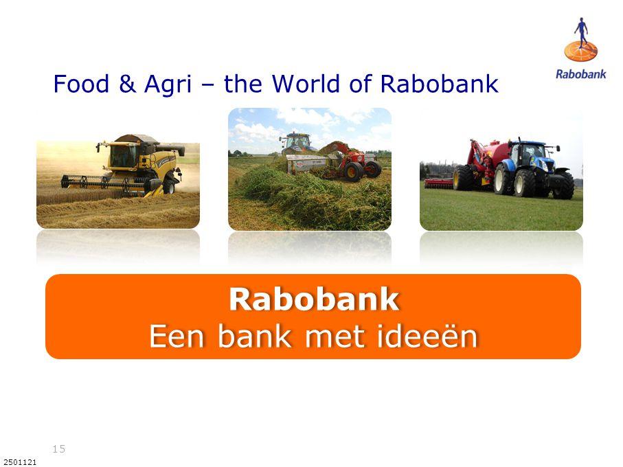 15 2501121 Food & Agri – the World of Rabobank Rabobank Een bank met ideeën Rabobank Een bank met ideeën