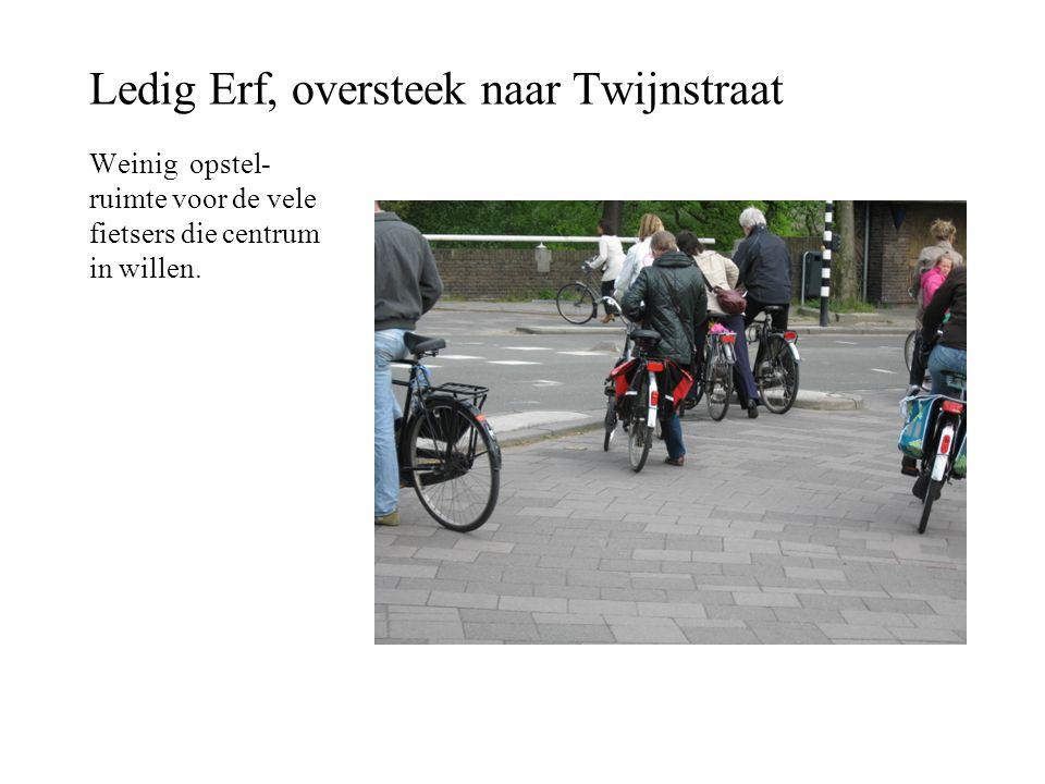 Ledig Erf, oversteek naar Twijnstraat Weinig opstel- ruimte voor de vele fietsers die centrum in willen.