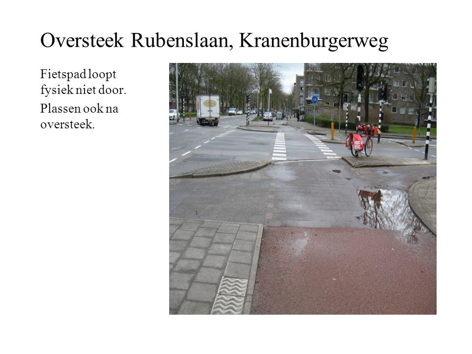 Oversteek Rubenslaan, Kranenburgerweg Fietspad loopt fysiek niet door. Plassen ook na oversteek.