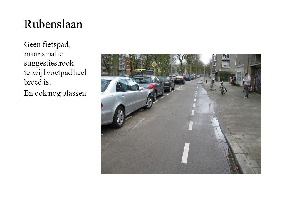 Rubenslaan Geen fietspad, maar smalle suggestiestrook terwijl voetpad heel breed is. En ook nog plassen
