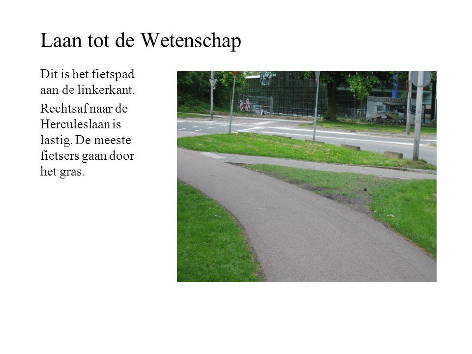 Laan tot de Wetenschap Dit is het fietspad aan de linkerkant. Rechtsaf naar de Herculeslaan is lastig. De meeste fietsers gaan door het gras.