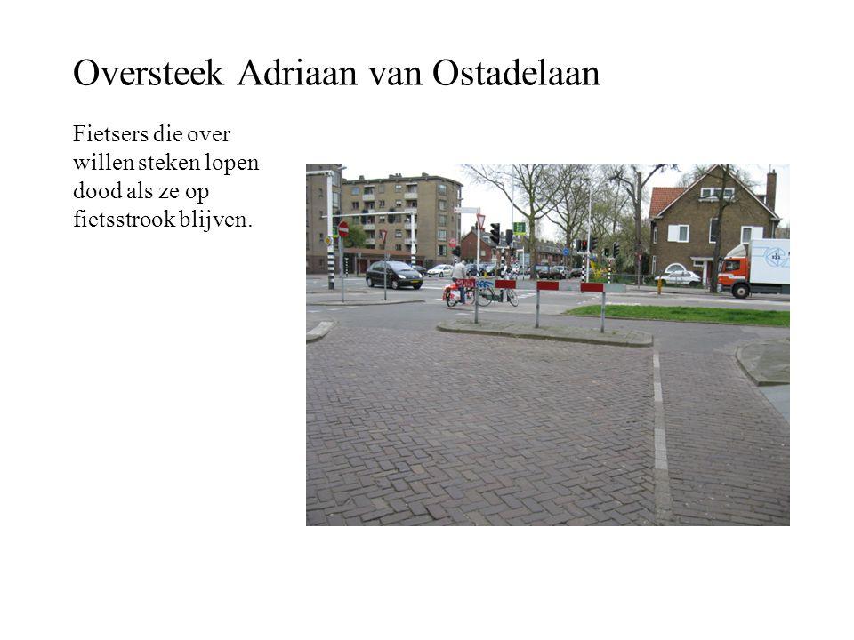 Oversteek Adriaan van Ostadelaan Fietsers die over willen steken lopen dood als ze op fietsstrook blijven.