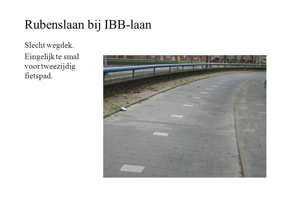 Rubenslaan bij IBB-laan Slecht wegdek. Eingelijk te smal voor tweezijdig fietspad.