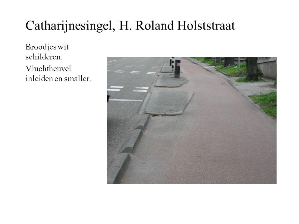 Catharijnesingel, H. Roland Holststraat Broodjes wit schilderen. Vluchtheuvel inleiden en smaller.