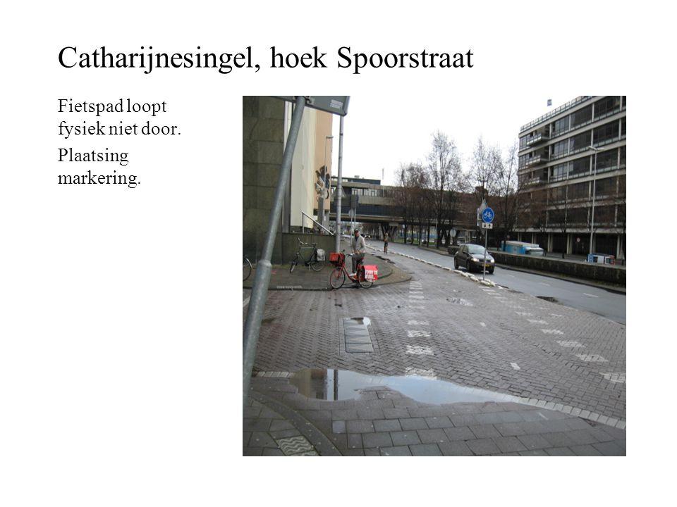 Catharijnesingel, hoek Spoorstraat Fietspad loopt fysiek niet door. Plaatsing markering.