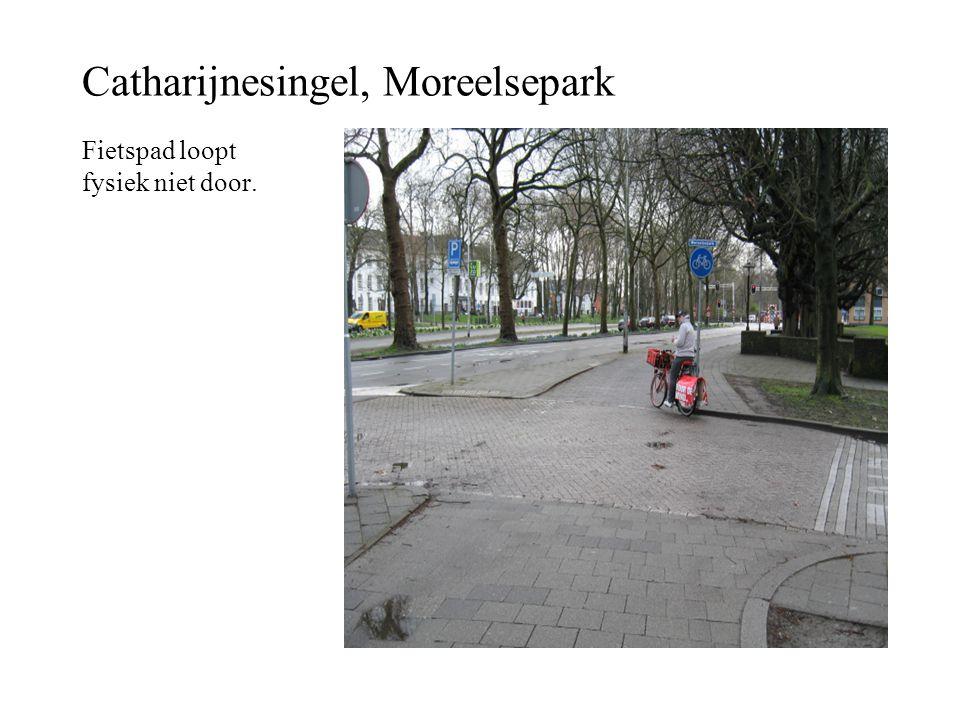 Catharijnesingel, Moreelsepark Fietspad loopt fysiek niet door.