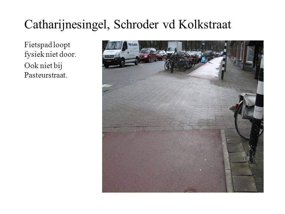 Catharijnesingel, Schroder vd Kolkstraat Fietspad loopt fysiek niet door. Ook niet bij Pasteurstraat.