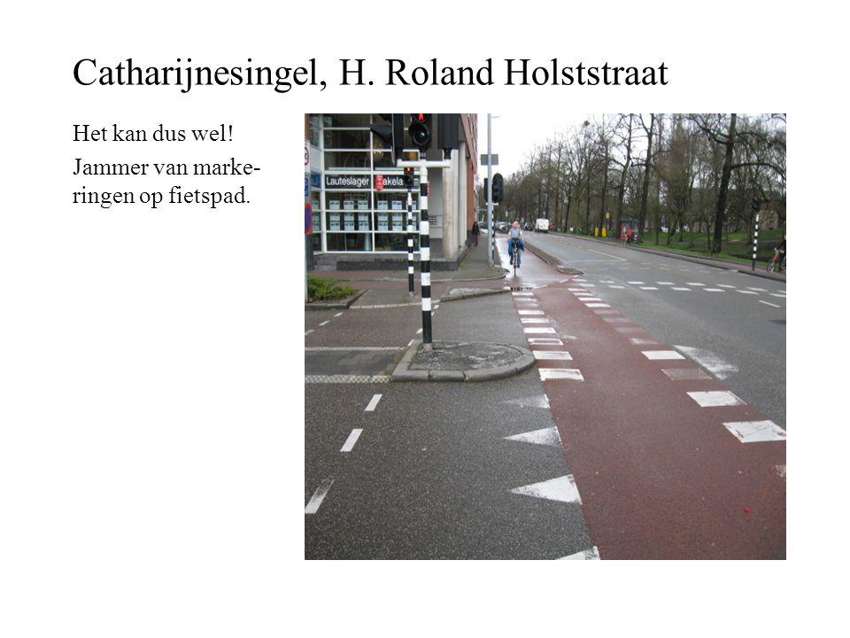 Catharijnesingel, H. Roland Holststraat Het kan dus wel! Jammer van marke- ringen op fietspad.