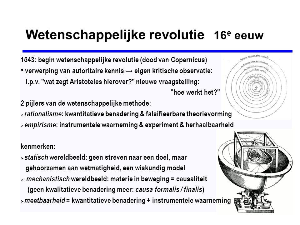 Astronomische omwentelingen 1530-1630 Galileo Galilei (1564-1642) • boek der natuur is in taal van de wiskundig • vraag is niet waarom (teleologie), maar hoe • 1615: door inquisitie bedreigd met foltering • 1616: kerk veroordeelt heliocentrisme • 1633: levenslang huisarrest Giordano Bruno (1548-1600) • God = natuurwet = universum = één • universum is oneindig met talloze zonnen & planeten 1600: op de brandstapel Nicolaas Copernicus (1473-1543) 1530: heliocentrische theorie over het zonnestelsel, durfde deze tot zijn sterfbed niet te publiceren Johannes Kepler (1571-1630) • beweging der planeten: Wetten van Kepler