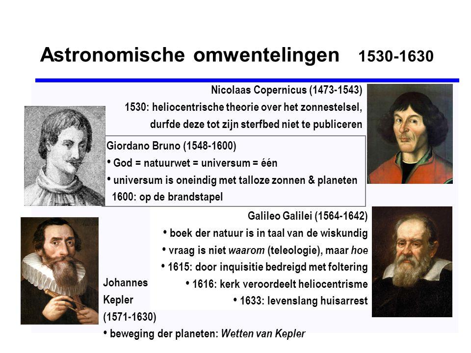 Astronomische omwentelingen 1530-1630 Galileo Galilei (1564-1642) • boek der natuur is in taal van de wiskundig • vraag is niet waarom (teleologie), m