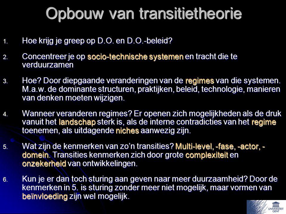 Opbouw van transitietheorie 1.Hoe krijg je greep op D.O.