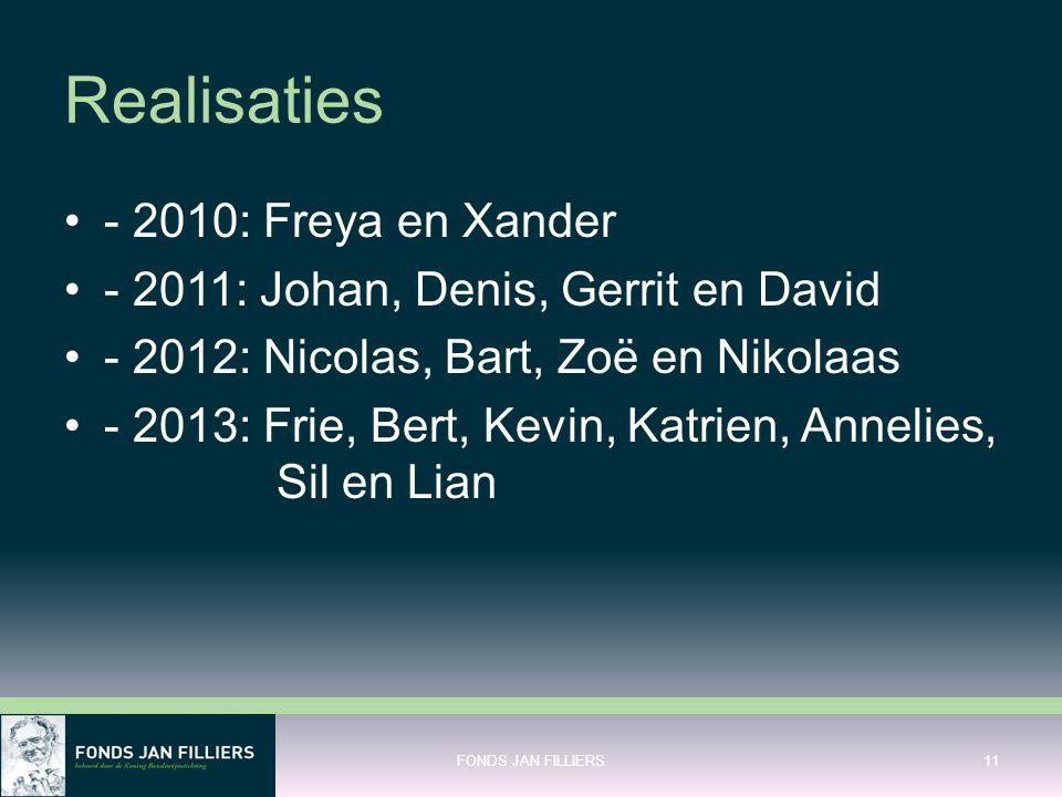 Realisaties •- 2010: Freya en Xander •- 2011: Johan, Denis, Gerrit en David •- 2012: Nicolas, Bart, Zoë en Nikolaas •- 2013: Frie, Bert, Kevin, Katrie