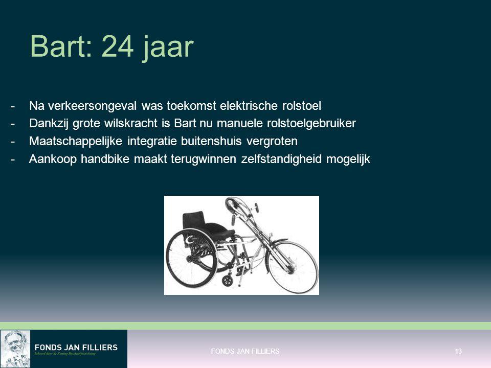 Bart: 24 jaar -Na verkeersongeval was toekomst elektrische rolstoel -Dankzij grote wilskracht is Bart nu manuele rolstoelgebruiker -Maatschappelijke i