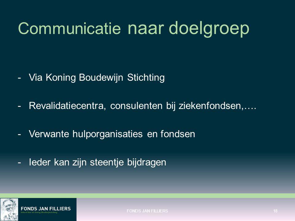 Communicatie naar doelgroep -Via Koning Boudewijn Stichting -Revalidatiecentra, consulenten bij ziekenfondsen,…. -Verwante hulporganisaties en fondsen