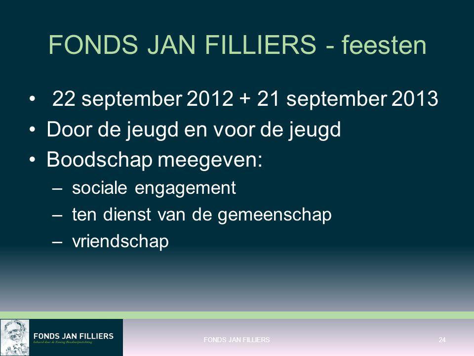 FONDS JAN FILLIERS - feesten • 22 september 2012 + 21 september 2013 •Door de jeugd en voor de jeugd •Boodschap meegeven: – sociale engagement – ten d