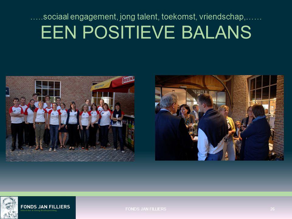 …..sociaal engagement, jong talent, toekomst, vriendschap,…… EEN POSITIEVE BALANS FONDS JAN FILLIERS26