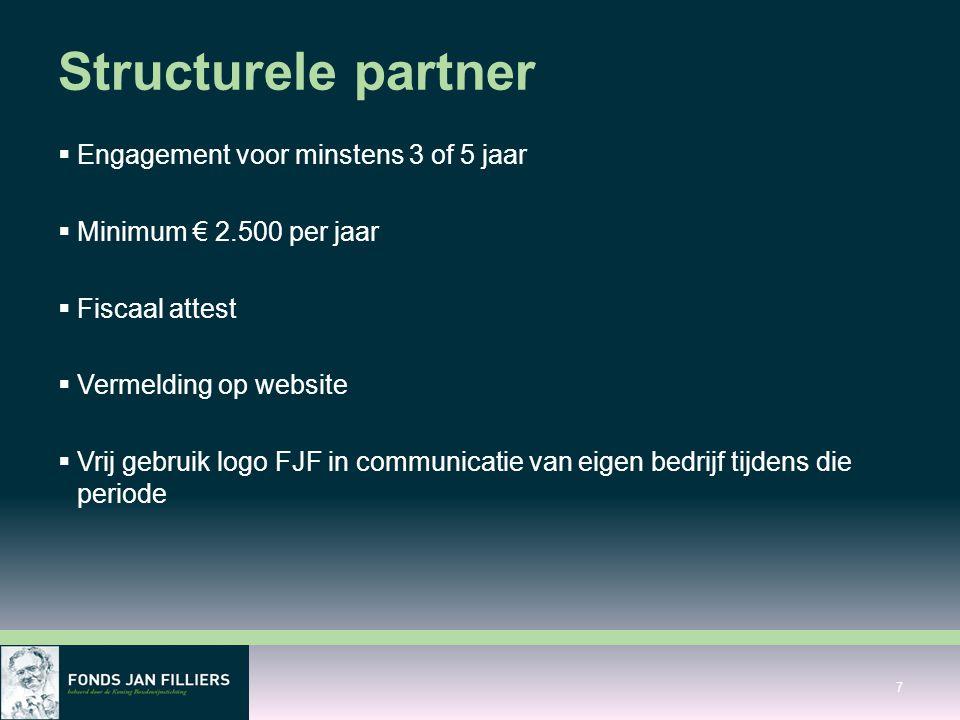 Structurele partner  Engagement voor minstens 3 of 5 jaar  Minimum € 2.500 per jaar  Fiscaal attest  Vermelding op website  Vrij gebruik logo FJF