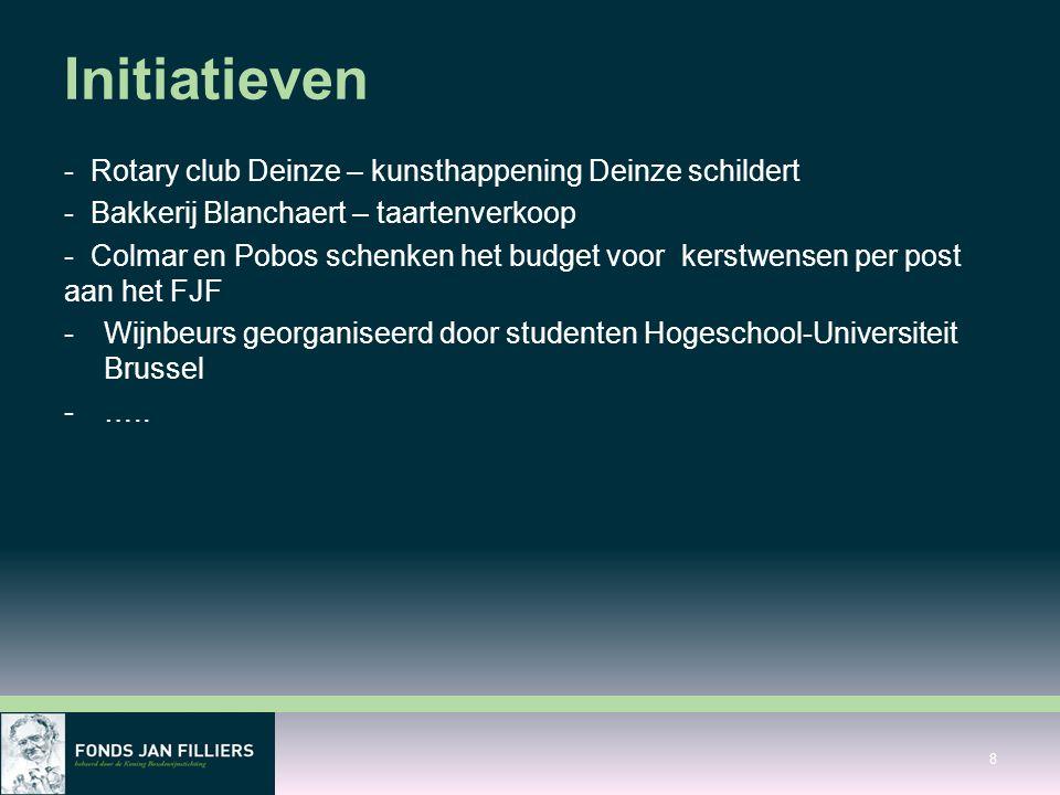 Initiatieven - Rotary club Deinze – kunsthappening Deinze schildert - Bakkerij Blanchaert – taartenverkoop - Colmar en Pobos schenken het budget voor