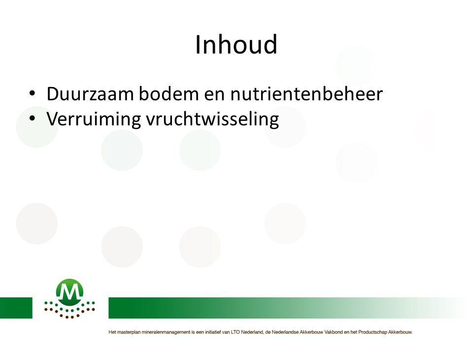 Inhoud • Duurzaam bodem en nutrientenbeheer • Verruiming vruchtwisseling