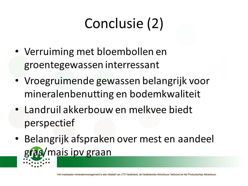 Conclusie (2) • Verruiming met bloembollen en groentegewassen interressant • Vroegruimende gewassen belangrijk voor mineralenbenutting en bodemkwalite