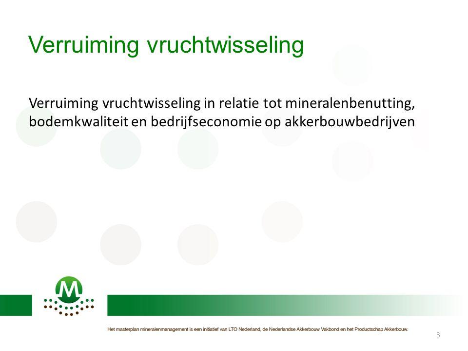 Verruiming vruchtwisseling Verruiming vruchtwisseling in relatie tot mineralenbenutting, bodemkwaliteit en bedrijfseconomie op akkerbouwbedrijven 3