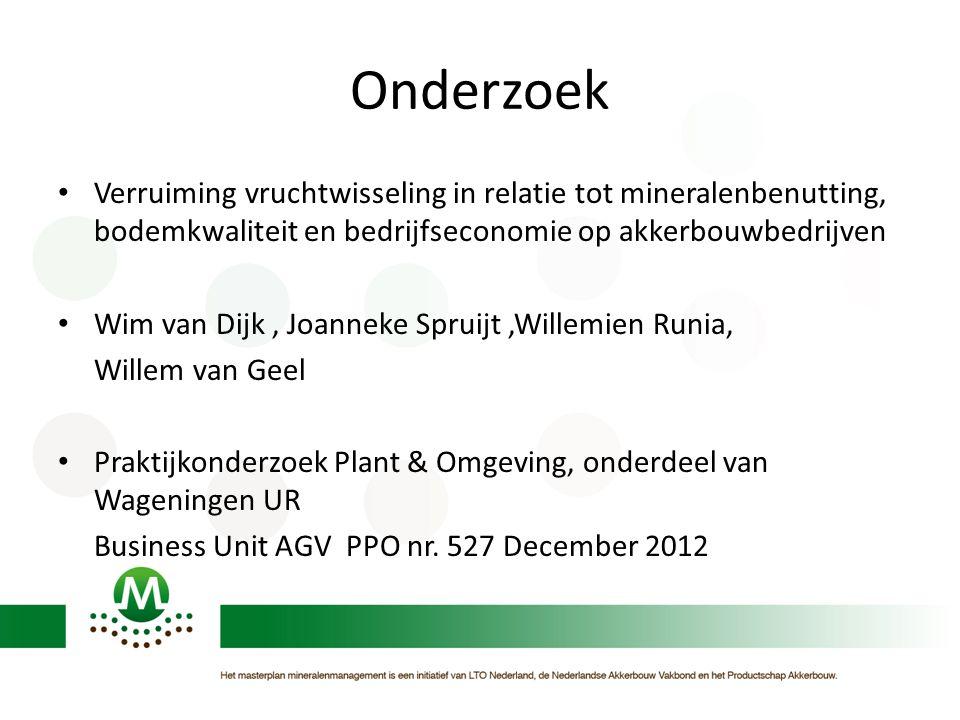 Onderzoek • Verruiming vruchtwisseling in relatie tot mineralenbenutting, bodemkwaliteit en bedrijfseconomie op akkerbouwbedrijven • Wim van Dijk, Joa