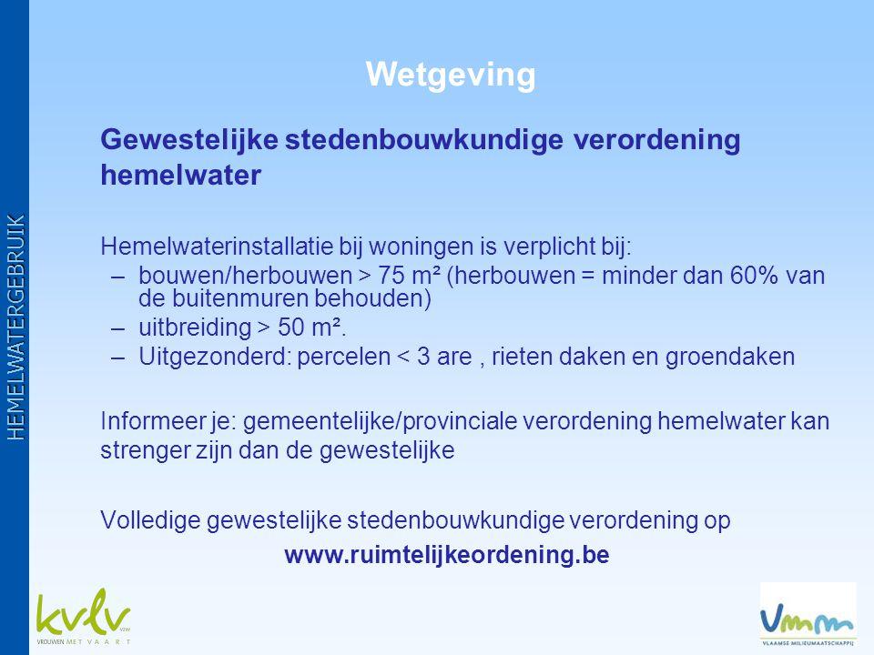 •Gemeentelijke subsidie: navragen bij gemeente (milieu- of technische dienst) •Gewestelijke subsidie: –indien gemeente samenwerkingsovereenkomst met Vlaams Gewest ondertekend heeft –aanvragen via gemeente –0,05 euro/liter putinhoud, met een max.