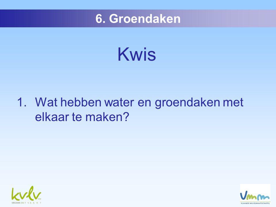Kwis 1. Wat hebben water en groendaken met elkaar te maken 6. Groendaken