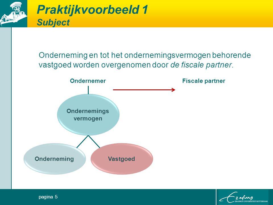Praktijkvoorbeeld 1 Subject Onderneming en tot het ondernemingsvermogen behorende vastgoed worden overgenomen door de fiscale partner.