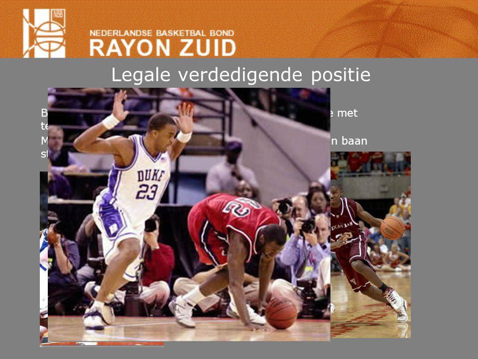 Legale verdedigende positie Beide voeten op grond, lichte spreidstand, face to face met tegenstander, op moment van contact stilstaan.
