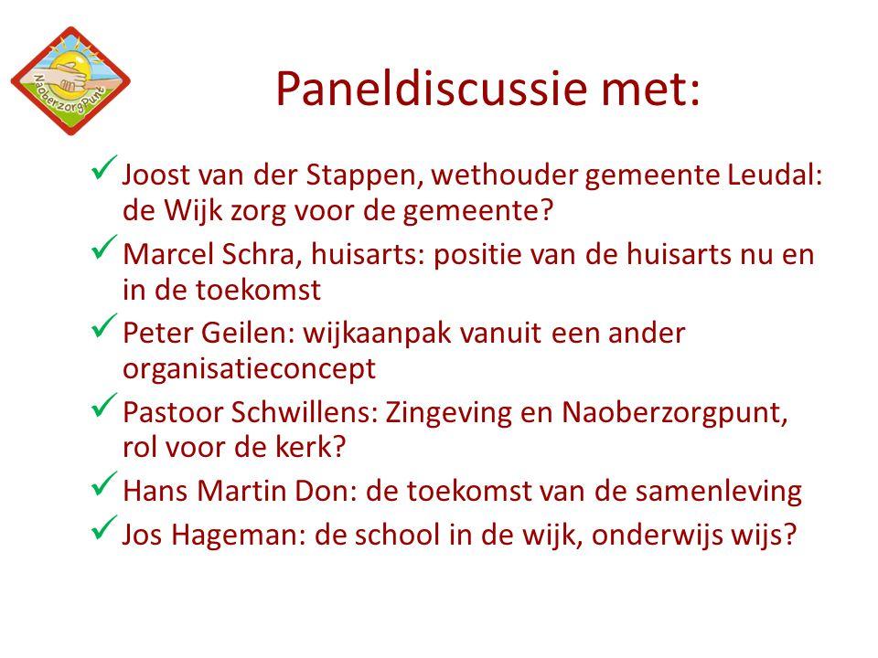 Paneldiscussie met:  Joost van der Stappen, wethouder gemeente Leudal: de Wijk zorg voor de gemeente?  Marcel Schra, huisarts: positie van de huisar