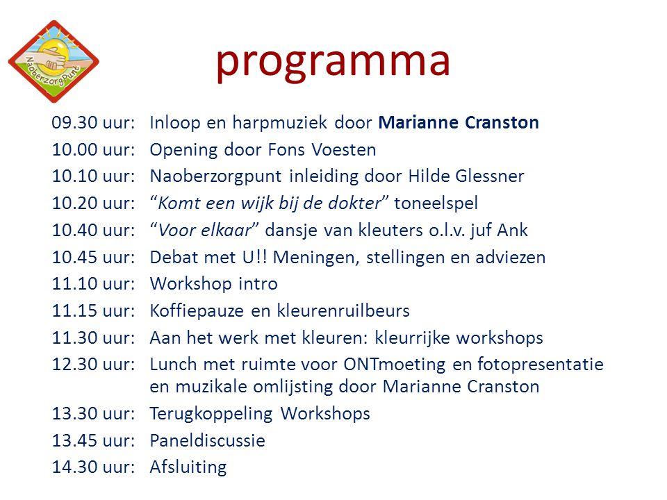 programma 09.30 uur:Inloop en harpmuziek door Marianne Cranston 10.00 uur:Opening door Fons Voesten 10.10 uur:Naoberzorgpunt inleiding door Hilde Gles