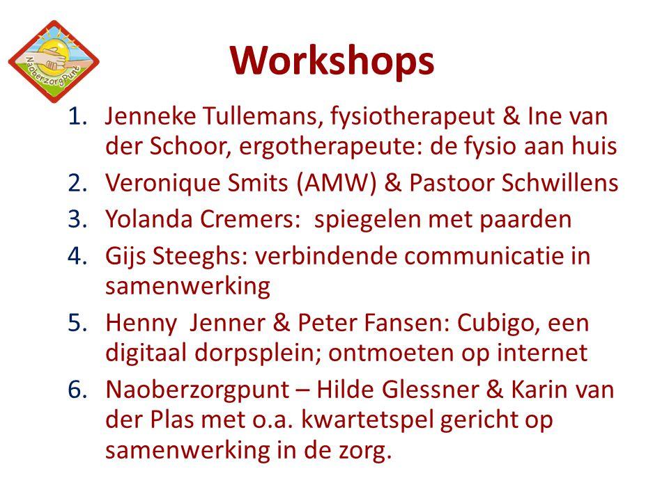 Workshops 1.Jenneke Tullemans, fysiotherapeut & Ine van der Schoor, ergotherapeute: de fysio aan huis 2.Veronique Smits (AMW) & Pastoor Schwillens 3.Y